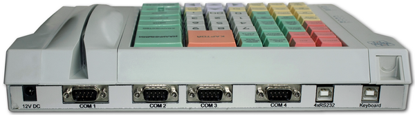 Programmable LPOS-064-QUADCOM-USB-M12 keyboard with 4 built-in COM ports (RS232) and additional power on the connectors
