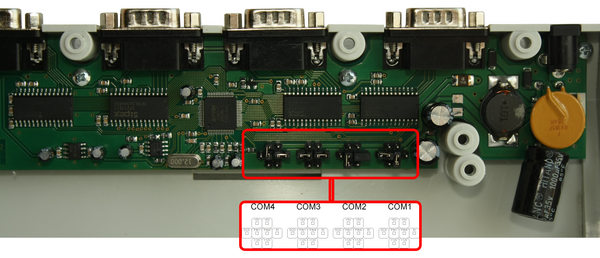 Switching additional voltages of COM ports (RS232) in a programmable LPOS-064-QUADCOM-USB keyboard